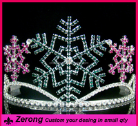 Wholesale large snowflake tiara crown emerald colored christmas pics tiaras crown