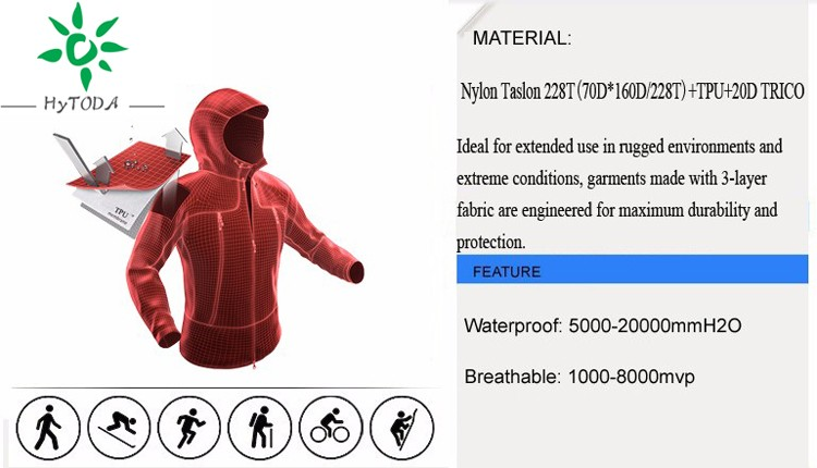 Wholesale YKK Zipper outdoor jacket Waterproof coat rain jacket for men