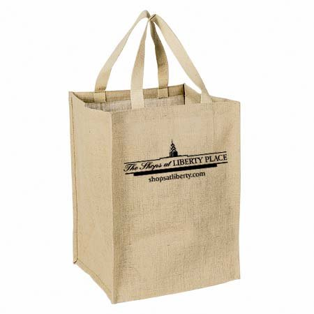 Eco-Friendly Supersized Grocery Jute Tote Bag - features cotton webbed handles and comes with your logo.