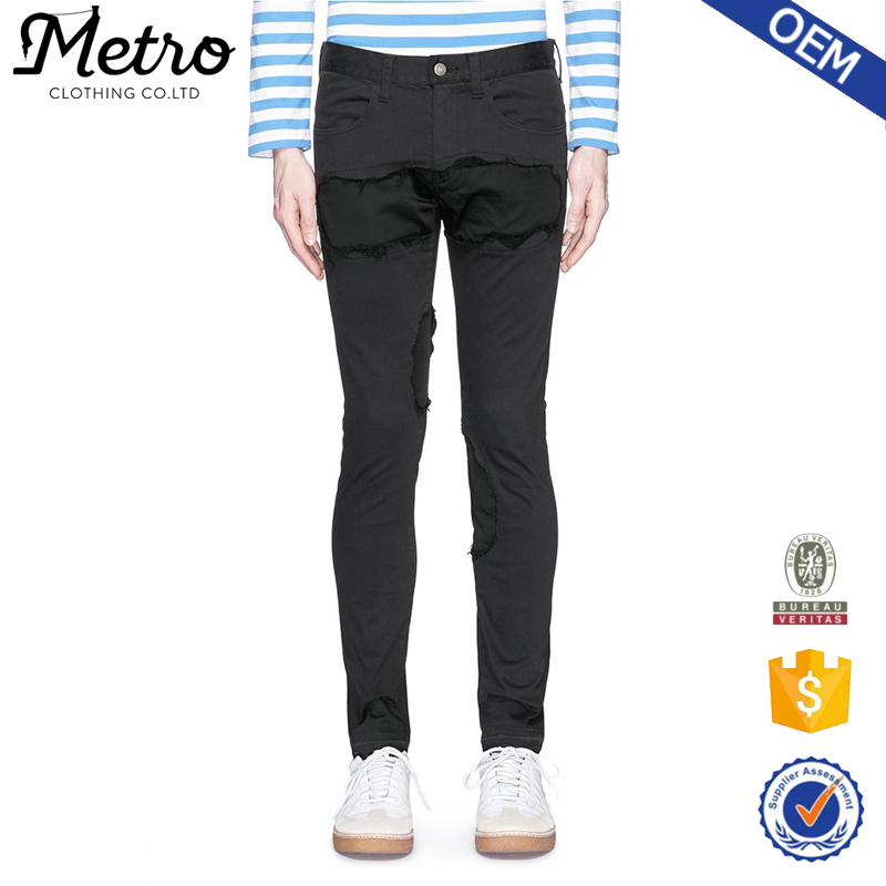 OEM latest design ripped pencil jeans for men