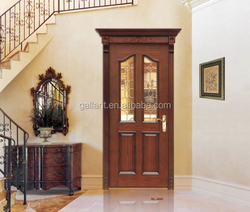 Sapele classical carving wooden door with art glass panle design