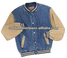Denim Varsity Jackets , Varsity Jacket In Denim With Fleece Sleeves