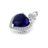 Fashion heart pendant sterling silver with CZ blue stones customized