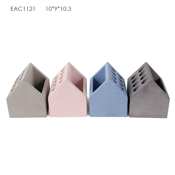 Wholesale desktop concrete hand made pen holder with phone holder or memo pad holder