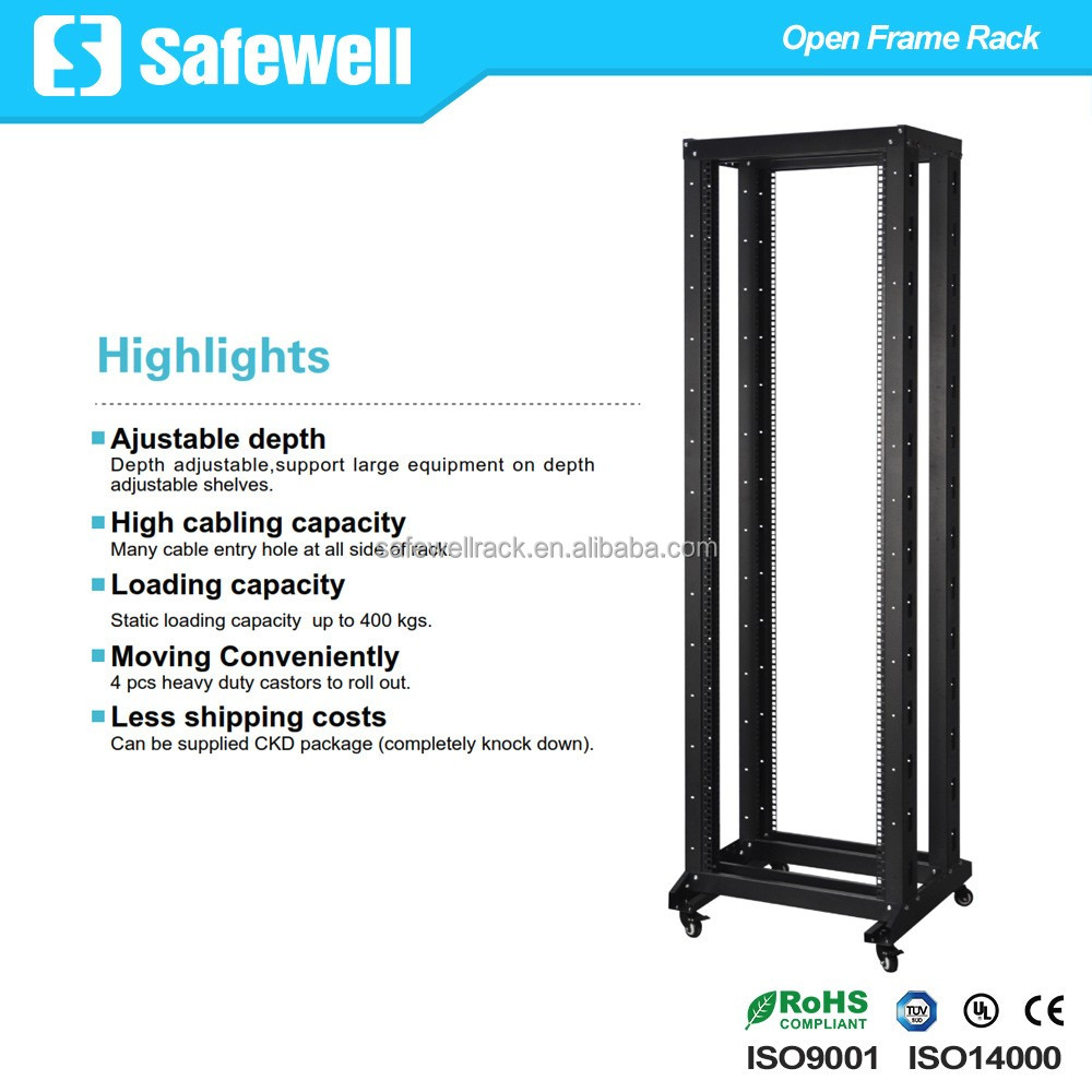 "Safewell 19"" 42U 4-Post Network Server Relay Rack Rolling with Castors"