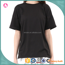Wholesale unbranded women summer black blank crewneck short sleeve cotton t-shirts