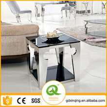 D336 Modern Design Stainless Steel Square Black Mirrored End Table