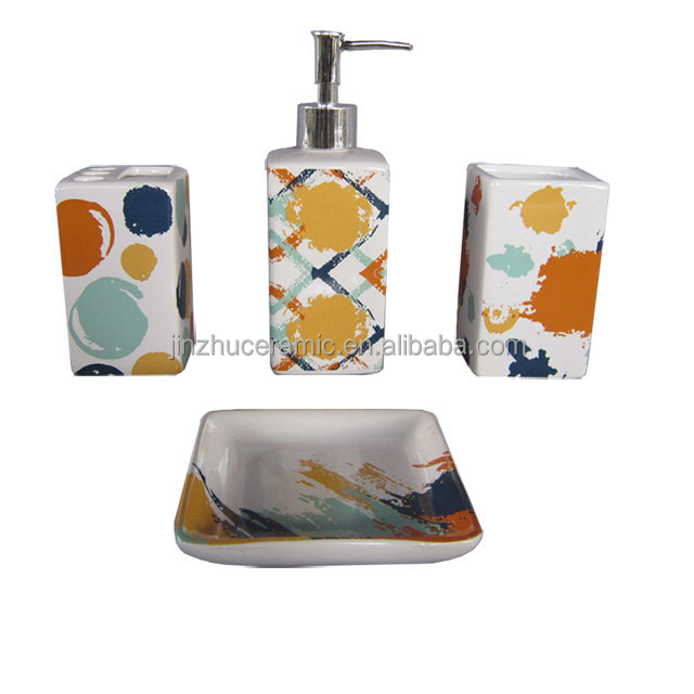 Home accessories modern 4pcs ceramic hotel balfour bathroom set in decal