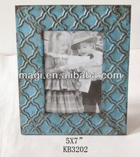 Blue Antique Carved Metal Photo Picture Frame