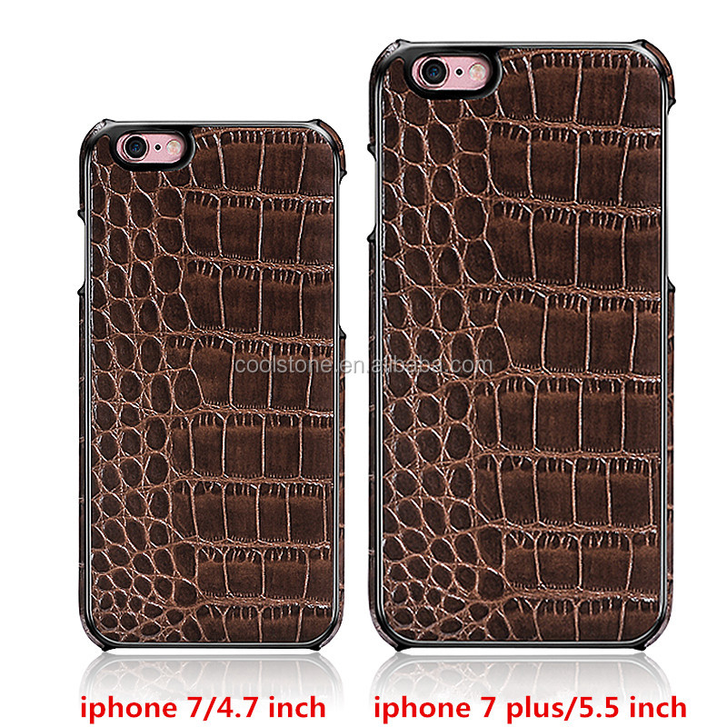 New!Top quality Platinum series Classic Crocodile Leather grain Genuine Leather protect back case for iPhone 7+/iphone 7 plus!