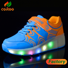 High quality roller skates USB charge led light children running sports shoes