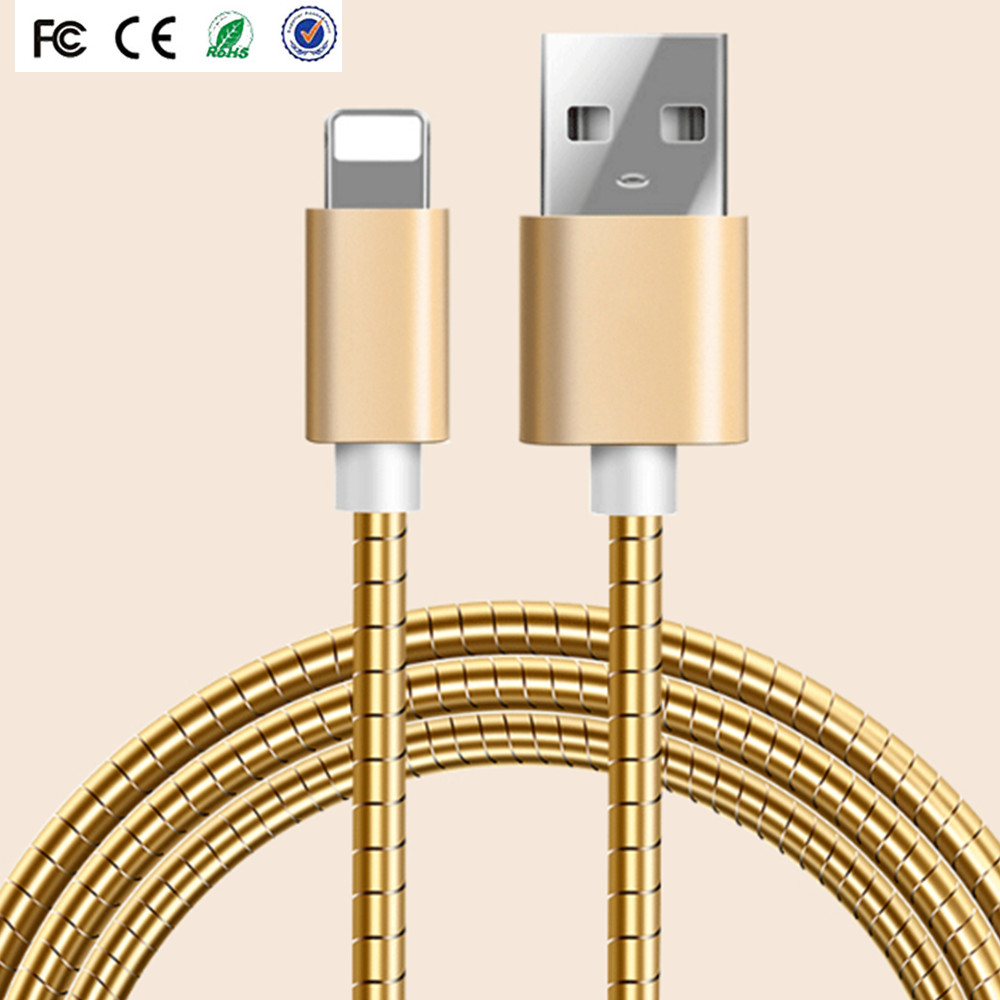 Hot sale 1M Metal SYNC Charging USB Data Line mobile phone for APPLE IPHONE 7 6 for iphone charger computer networking cable