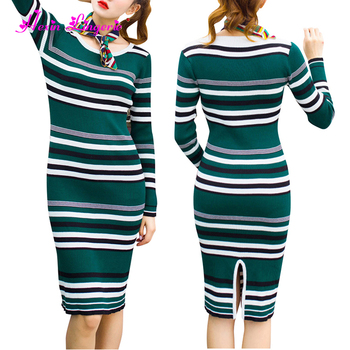 New Style winter green horizontal stripes sweater knitted sexy dresses women elegant