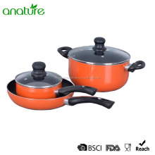 HQ-1008 Heat Resistant 5 Pcs Kitchen Aluminum Cookware Sets In Pakistan With Glass Lid and Induction Bottom