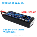 High power 5000mah li-po battery 22.2V 35C Discharge Rechargeable li-ion polymer battery pack