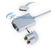 Slim Dock Connector to VGA Adapter Audio Output for Ipad Iphone 4