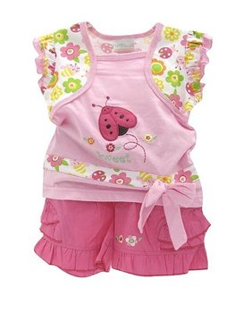 New cute pink baby girls clothes set blouse and shorts