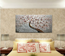 100% Hand-painted modern home decor wall art picture gray pink Cherry Blossom tree thick palette knife oil painting on canvas