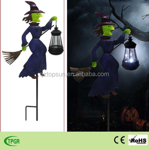 Metal witch with solar lantern for Halloween ornaments led garden lamp