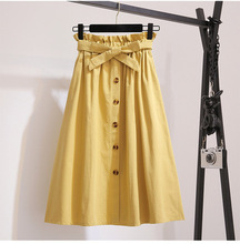 summer autumn 2019 fashion single row button high waist <strong>skirt</strong> pleated <strong>skirt</strong> A line <strong>skirt</strong>