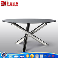 2015 popular dining room table with (1+5) design/tempered glass dining table