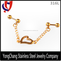 Stainless steel 316L golden plated long chain heart hanging earrings
