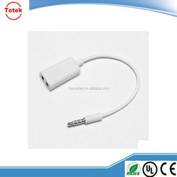 New earphone splitter audio cable 3.5mm double jack adaptor cable