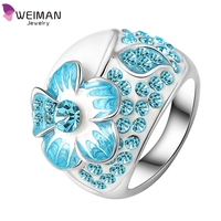 Hot Fashion Real Platinum Plated Blue Austrian Crystal Flower Enamel Ring