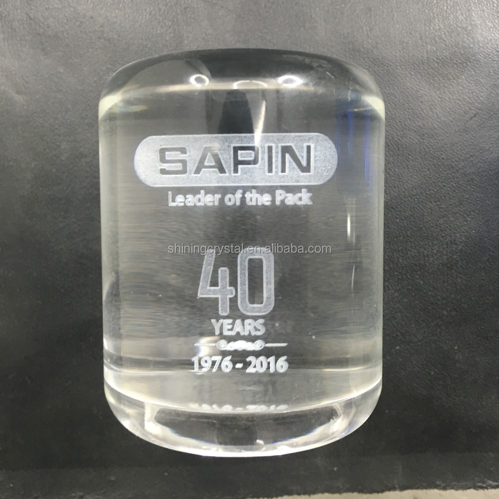 3D laser crystal cylinder award for anniversary souvenir gift
