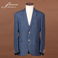 Men's Linen jacket blue jacket 100% Linen soft garment wash jacket