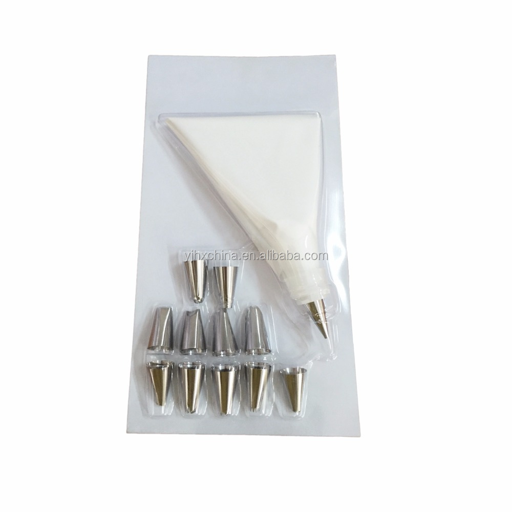 Hot sale stainless steel material 12pcs icing piping tips set cake decorating tools