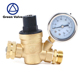 Green-GutenTop Adjustable Brass Lead-free Water Pressure Regulator Reducer With Gauge Inlet Screened Filter For RV ( NH Thread )