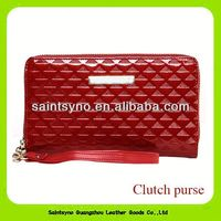 13090 Fashion Zipper Lady Purse With Leather Wristlet