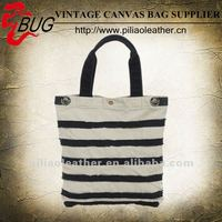 White And Black Strip Canvas Tote Bag/Canvas Handbag For Lady