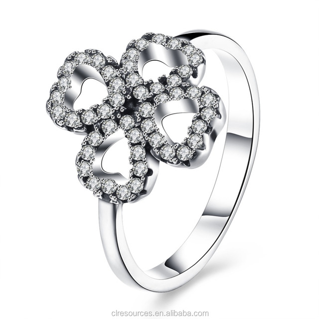 Four Leaf Clover Pendant Rings With Diamond Ring 925 Sterling Silver Smart Ring Jewelry Charm Clover Heart Ring