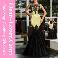 Gold Sequin Applique Evening Party Ladies Formal One-piece Dresses Patterns