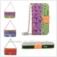 2014 For Apple iPhone 4 4s Stylish Color Crocodile Handbag Leather Wallet Holster Flip Cover Case