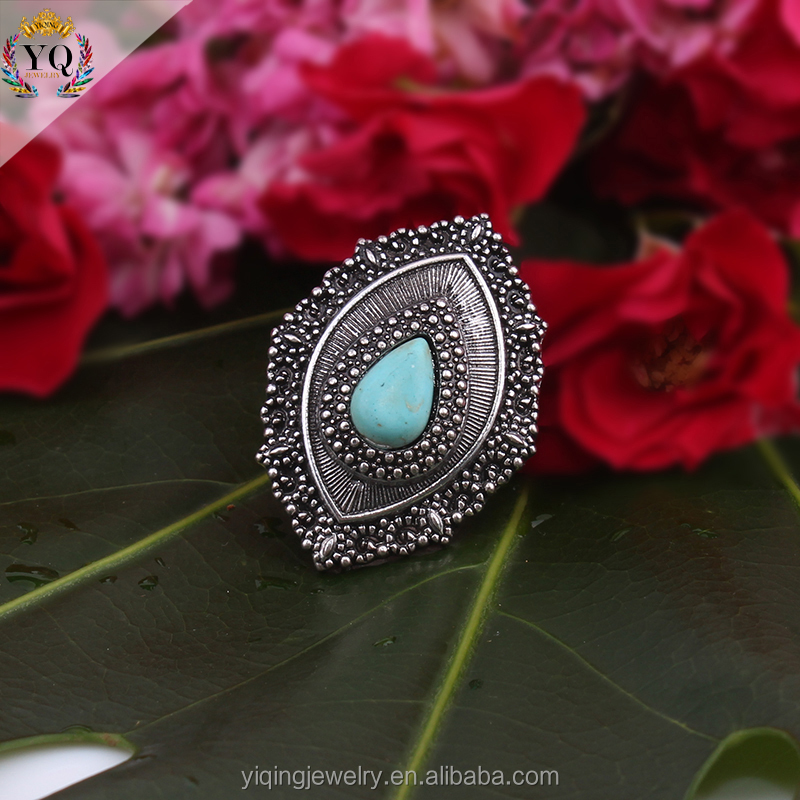 RYQ-00021 fashion water drop single natural stone silver ring design