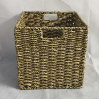 Wholesale handmade seagrass rope storage basket, cheap straw baskets, woven basket seagrass