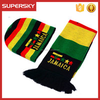 A-2056 Fans Soccer Football Beanie and Scarf Knitted Football Fans Beanie Hat Scarf Brazil World Cup Fans Hat and Scarves
