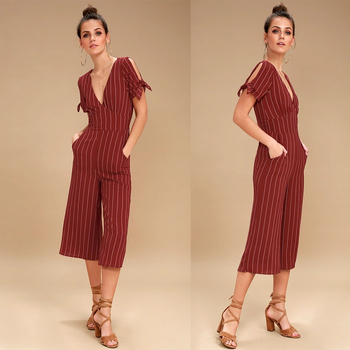 Wine Red Striped Culotte Jumpsuit For Woman