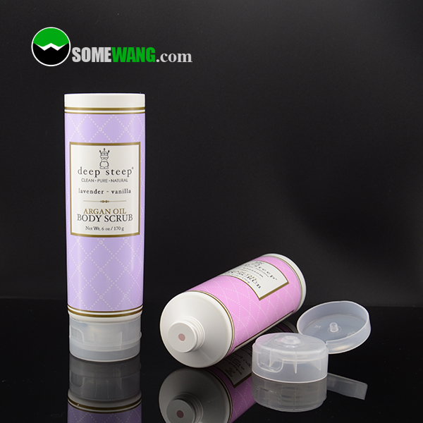Customized labelling 120g plastic tube with flip cap for body scrub