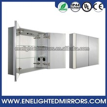 OEM New Design hinged wall mounted antique cloakroom gloss white mirror cabinet