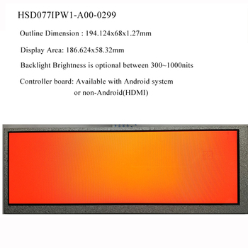7.7 inch 1280x400 stretched LCD super-wide LCD monitor display (Android/HDMI controller board are available too)