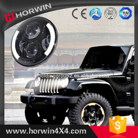7inch Round 47.5W Hi/Lo LED Driving Light Headlights Insert with DRL & Turn Signal & Halo Ring Angle Eyes for Jeep Wrangler
