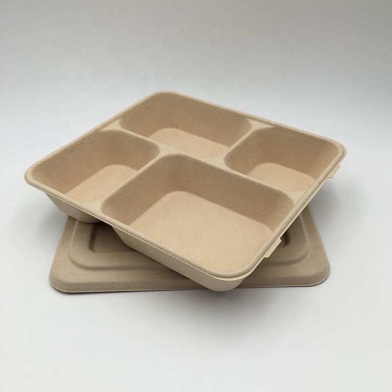 Factory sale food packaging bagasse paper bamboo 4 compostable disposable lunch plate