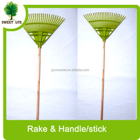 wooden stick plastic garden rake / cleaning tools rakes