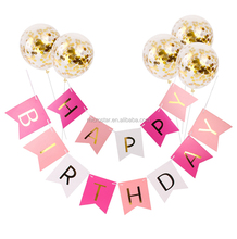 A0074 Happy Birthday Banner 12Inch Gold Confetti Balloons Birthday Party Decorations Kids Baby Shower Party Favors Babyshower