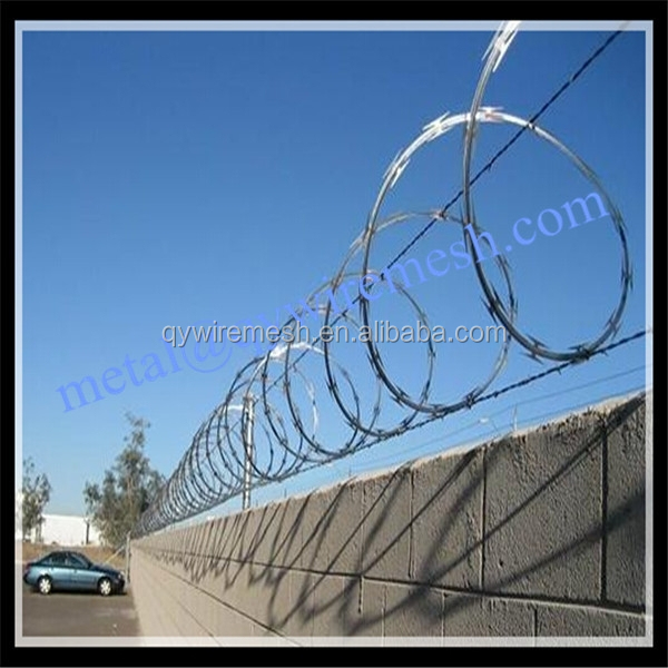 450mm coil diameter concertina razor barbed wire / triple strand concertina wire / razor wire manufacture