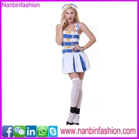 New style blue and white sailor costume dress in big stock